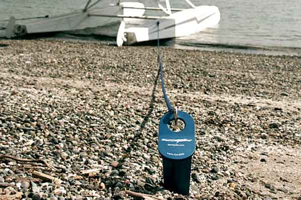 Sandspike - The ultimate beach anchor for boats of all types including motor boats, sail boats, fishing boats, water ski, jet ski and float planes.